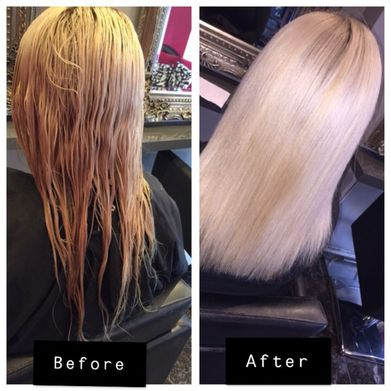 keratin blowdry before and after